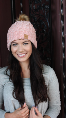 Fleece Lined Blush Pom Pom Beanie