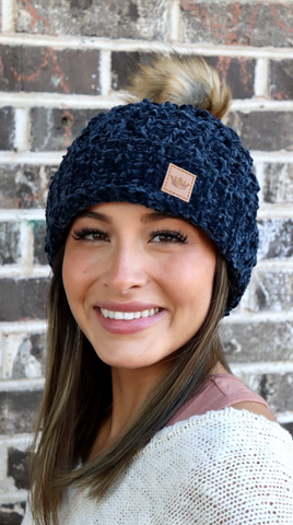 Fleece Lined Navy Pom Pom Beanie