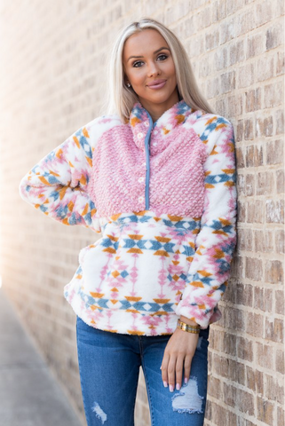 *Simply Southern Tribal Print Sherpa Pullover for Women