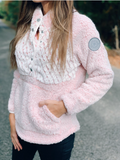 *Simply Southern Pink Piped Sherpa Pullover