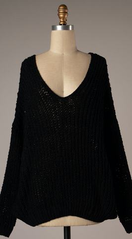 *Brielle Chenille Cozy Knit Sweater Black