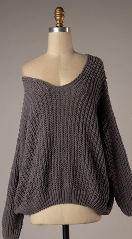*Brielle Chenille Cozy Knit Sweater Charcoal