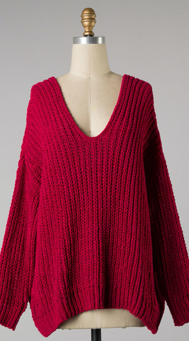 *Brielle Chenille Cozy Knit Sweater Red