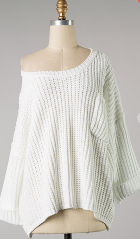 *Bella Knit Sweater with Pocket in Ivory