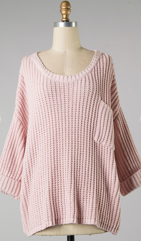 *Bella Knit Sweater with Pocket in Blush
