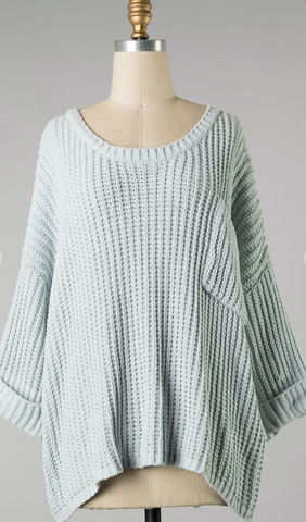 *Bella Knit Sweater with Pocket in Baby Blue