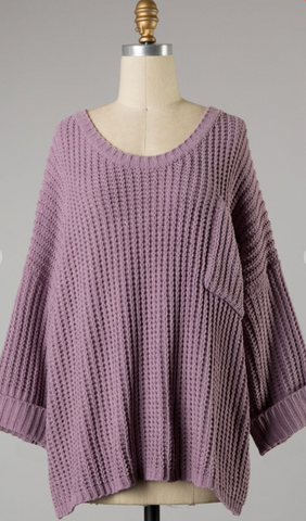 *Bella Knit Sweater with Pocket in Lavender