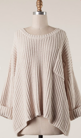 *Bella Knit Sweater with Pocket in Beige