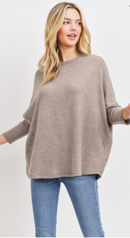 All About Me Cozy Brushed Knit Top in Taupe