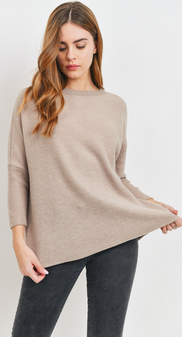 All About Me Cozy Brushed Knit Top in Oatmeal