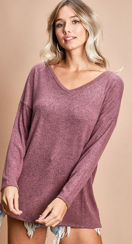 Criss Cross Open Back Knit Top in Mauve