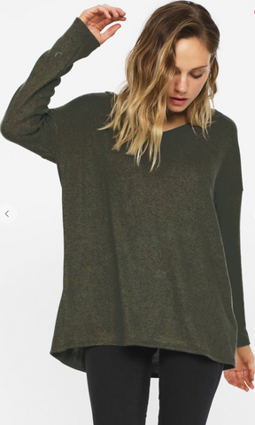 Criss Cross Open Back Knit Top in Olive
