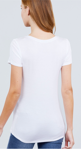 Beautifully Basic Top with Pocket in White