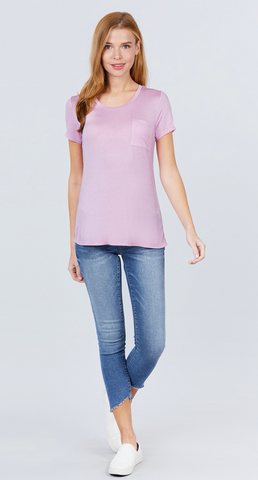 Beautifully Basic Top with Pocket in Lavender