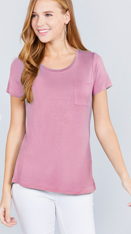 Beautifully Basic Top with Pocket in Blush