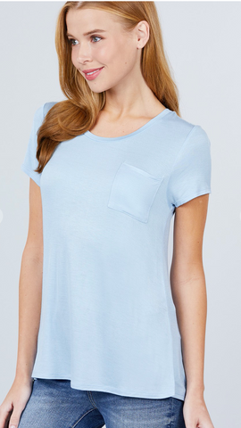 Beautifully Basic Top with Pocket in Crystal Blue