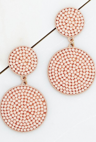 Steal the Show Beaded Earrings in Blush