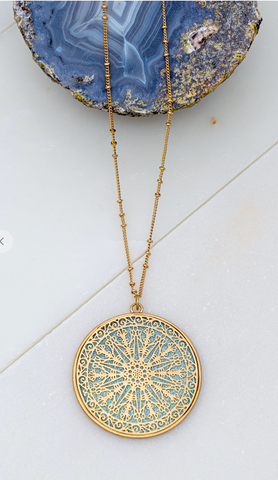 Sundial Pendant Necklace with Blue Accent