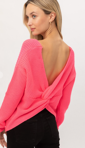 Twist of Spice Sweater in Hot Pink