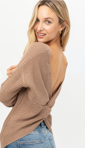 Twist of Spice Sweater in Taupe