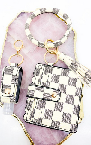 White Checkered Keychain Wristlet with Hand Sanitizer Holder
