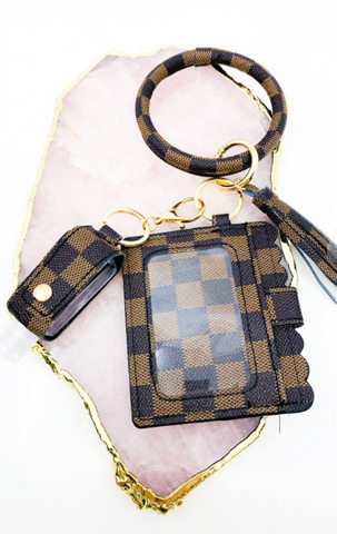 Brown Checkered Keychain Wristlet with hand sanitizer holder