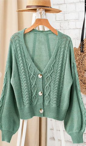Primrose Cable Knit Button Down Cardigan in Sage