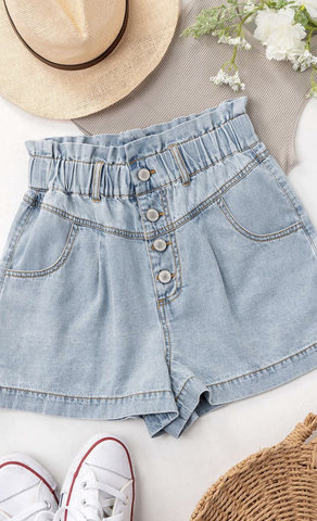 Carolina Paperbag Denim Shorts