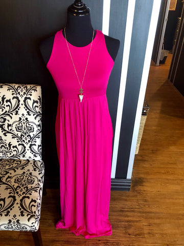 Dress Maxi w/ pockets Hot Pink