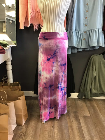 Pink and Blue Tie Dye Maxi Skirt