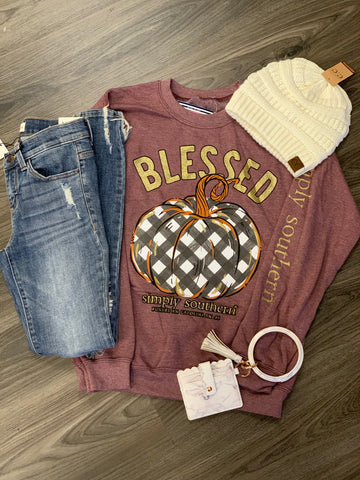 Simply Southern Blessed Pumpkin Crew Neck