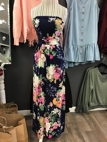 Strapless Navy Floral Maxi Dress