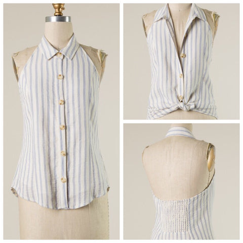 Collared Button Down Striped Halter Tank