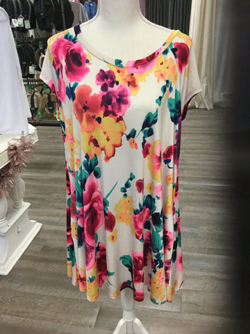 Floral Neon Short Sleeve Dress