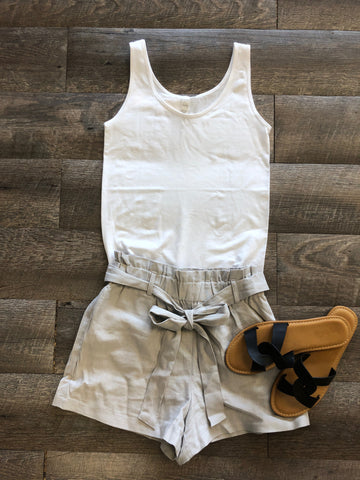 Cloud Gray Paperbag Belted Shorts