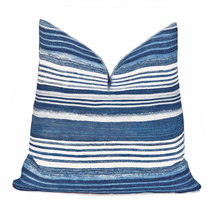 Modern Boho | Blue & White Striped  African Indigo Pillowbest decor - HUNTEDFOX