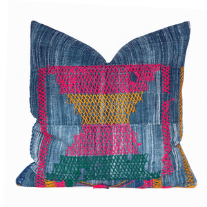 Modern Boho | Neon Vintage African Indigo Accent Pillowbest decor - HUNTEDFOX