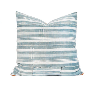 Modern Boho | Light Striped Vintage African Indigo Accent Pillowbest decor - HUNTEDFOX
