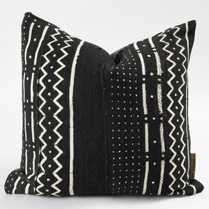 The Sira African Mudcloth Pillow - Black - H U N T E D F O X