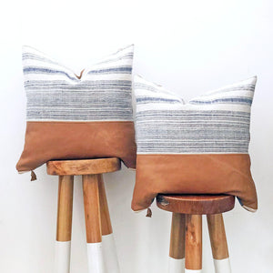 Hmong Indigo & Leather Accent Pillowbest decor - HUNTEDFOX