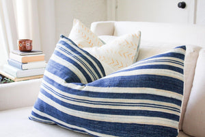 BURKINA FASO INDIGO STRIPED PILLOW - H U N T E D F O X