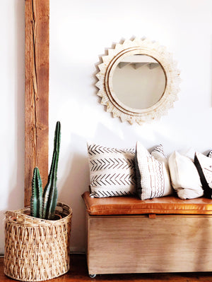 Modern Boho | Black and White Neutral Mudcloth Pillow - H U N T E D F O X