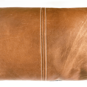 Lexy Monaco Natural Leather & Japanese Denim Lumbar Pillow - H U N T E D F O X