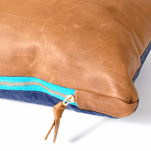 Lexy Monaco Natural Leather & Japanese Denim Lumbar Pillowbest decor - HUNTEDFOX