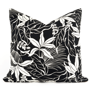 Black & White Hawaiian Print Moana Pillow - H U N T E D F O X