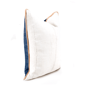 "Perfect Pillow | "" Kura"" Perfect Neutral Mudcloth & Leather - H U N T E D F O X"