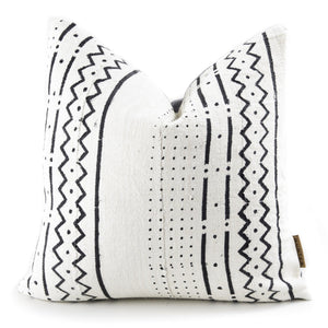 The Sira African Mudcloth Pillow - White - H U N T E D F O X