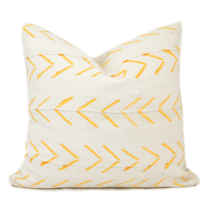 White &  Yellow Chevron Arrow Mudcloth Pillow