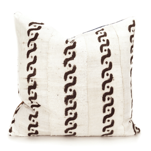 Black and Off White Neutral Mudcloth Chain Pillow - H U N T E D F O X