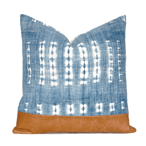 Modern Boho | Vintage Indigo & Leather Pillow - H U N T E D F O X